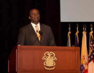 Gen. Lloyd J. Austin III, U.S. Army, Ret., presents the annual Colin L. Powell Lecture for students of the 2019 Command and General Staff Officer's Course, Aug. 21 at Fort Leavenworth's Lewis and Clark Center.