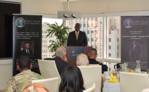 Gen. Lloyd J. Austin III, U.S. Army, Ret., speaks at a luncheon in downtown Kansas City hosted by the CGSC Foundation.